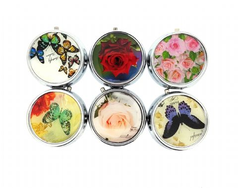 Small Round Flower or Butterflies Design Metal Pill box (3 Pack)